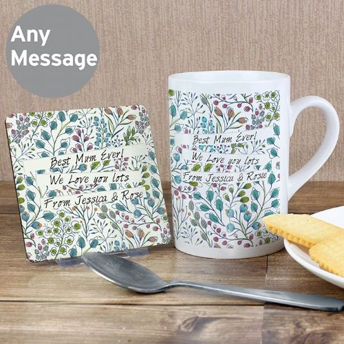 Personalised Botanical Mug & Coaster Set